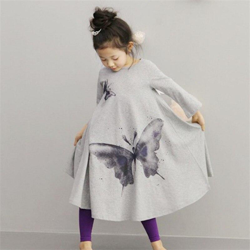 Hot sale New 2018 Baby Girls Full butterfly print Dress 2t-8 Kids Beach Dresses for girls toddler girls clothing butterfly print mat
