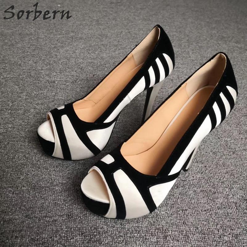 Sorbern/женские туфли с открытым носком на высоком каблуке; белые туфли на платформе без застежки; пикантные туфли лодочки на шпильке по индивидуальному заказу; Размеры 6 - 6