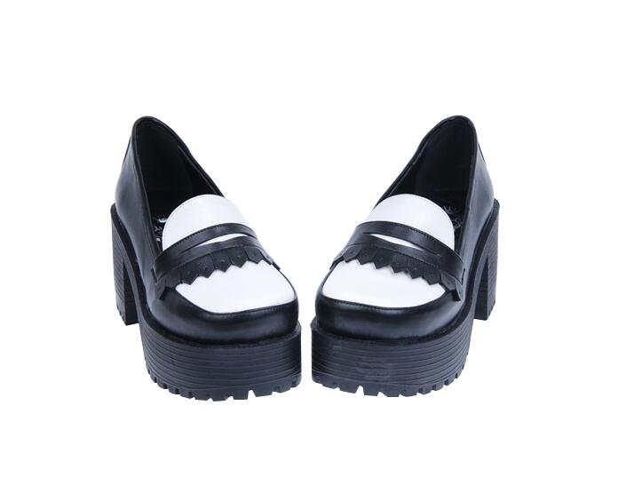 Punk Dame Prinzessin Mädchen Angelic Heels Kleid Mori 40 Schuhe Hohe Impressum Pumps Frauen Cosplay 35 Frau Schwarzes Quasten Lolita Trifle CRRpgqy