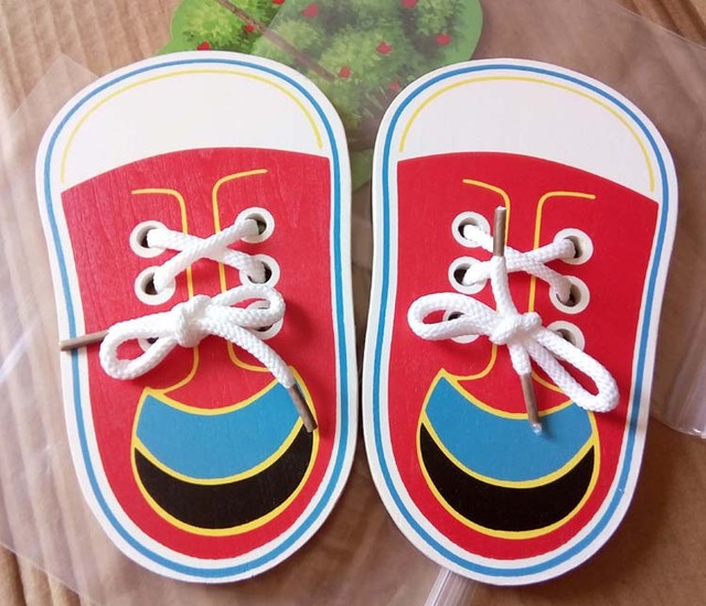 Children Wooden Lacing Shoes Toddlers Kids Montessori Early