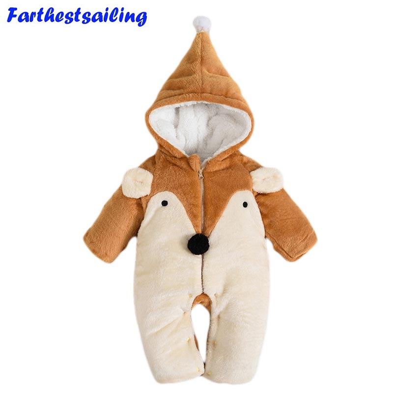 Baby Rompers Girls Boys Clothes Newborn Kids Winter Fleece Thick Warm baby jumpsuit fox Animal Roupas De Bebe Toddler Costume free shipping winter newborn infant baby clothes baby boys girls thick warm cartoon animal hoodie rompers jumpsuit outfit yl