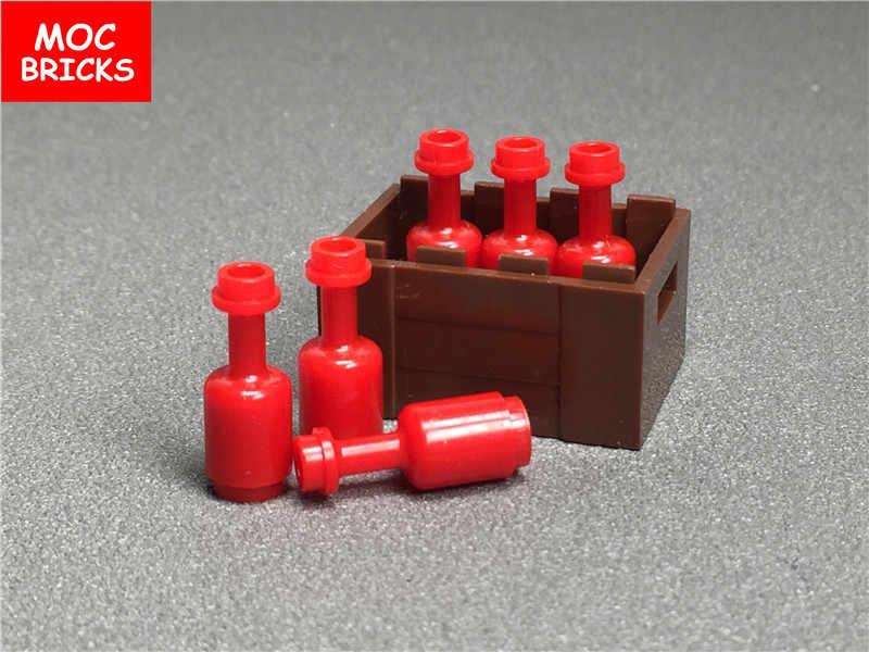MOC Tijolos conjunto Utensílio garrafa vermelha 95228 Gold & Cálice Copo cesta de frutas DIY Educacional Blocos de Construção de brinquedo figura de Ação presentes
