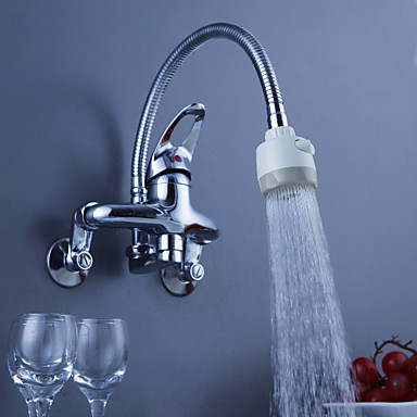 Chrome Finish Brass Kitchen Faucet with Flexible Spout Wall Mount