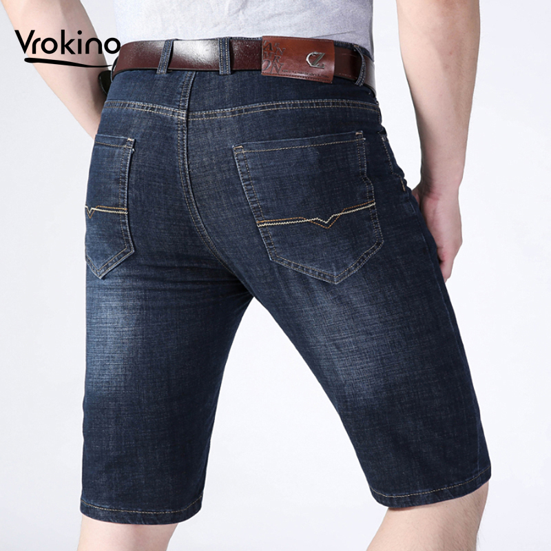 Plus Large Size 38 40 42 2019 New Summer Listing Men's Casual Loose Straight Stretch Denim Shorts Thin Men's Blue Black Shorts