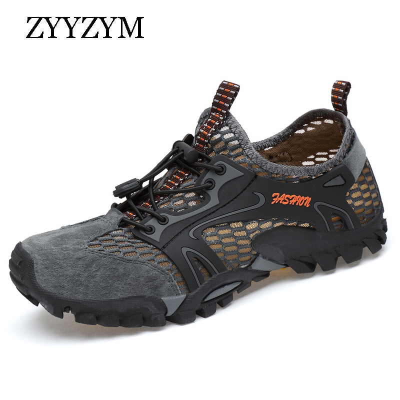 ZYYZYM Men Mesh Casual Shoes Summer Adult Breathable Light Quality Outdoor Wadin Walking Men Shoes Fashion Sneakers Footwear
