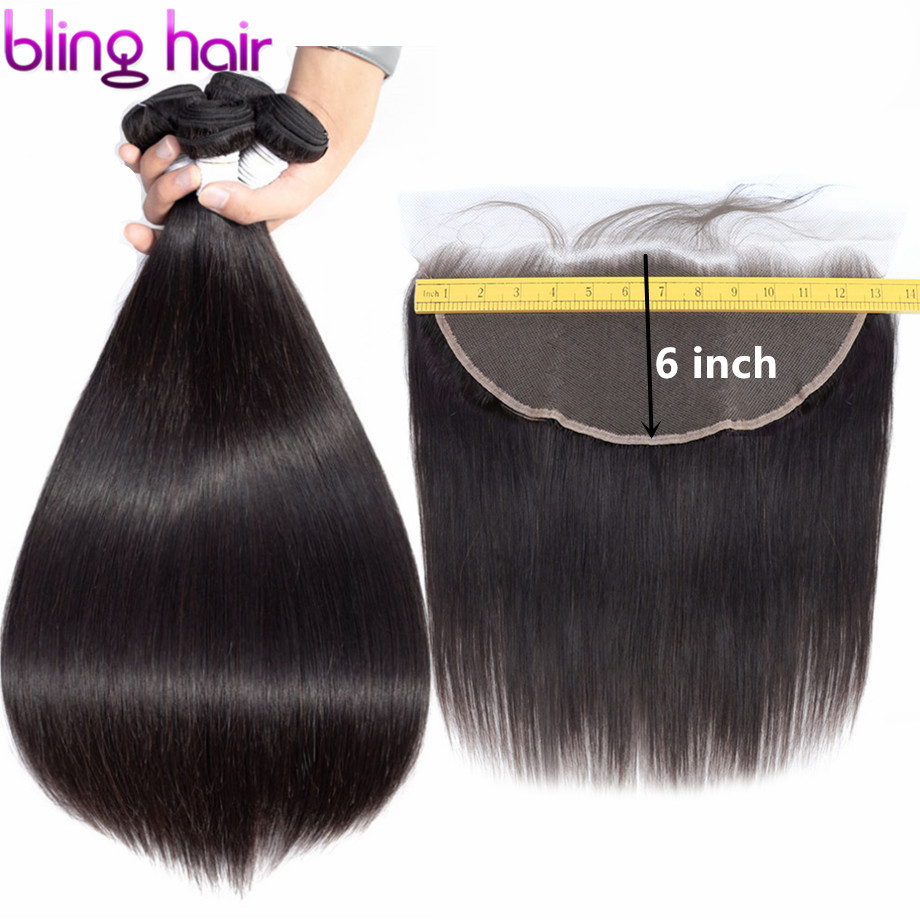 Bling Hair Straight Hair Bundles With Frontal 13x6 Ear To Ear Lace Frontal Closure Brazilian 100% Remy Human Hair Natural Color