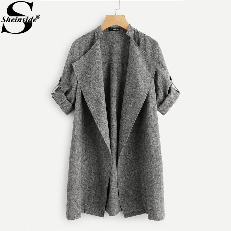Sheinside Drape Collar Roll Tab Sleeve Women   Trench   Coat Grey Stand Collar Long Sleeve Coats Winter Ladies Casual Outerwear