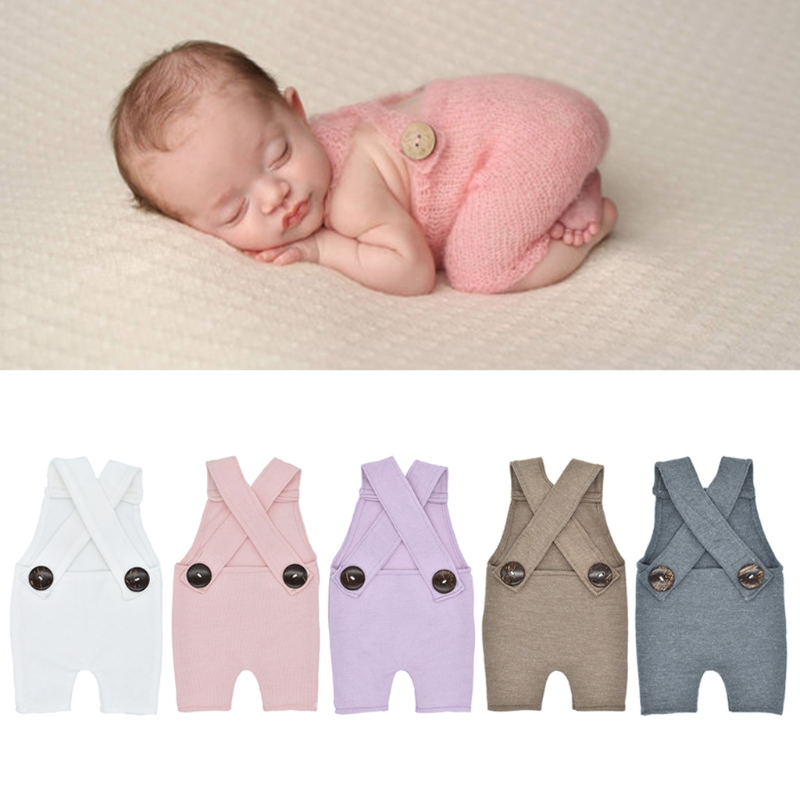 2018 Newborn Photography Prop Button Overalls Pants Baby Photo Shoot   Romper   Outfit