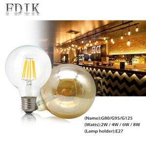 Светодиодная лампа накаливания G80 G95 G125 E27 винтажная Светодиодная лампа Эдисона 2 Вт 4 Вт 6 Вт 8 Вт большая круглая лампа чайная прозрачная стеклянная теплая желтая