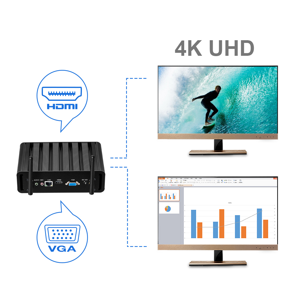 Image 2 - Mini PC Intel Core i7 7500U i5 7200U i3 7100U 8GB RAM 240GB SSD Windows 10 300M WiFi Gigabit Ethernet 4K UHD HDMI VGA 6*USB-in Mini PC from Computer & Office