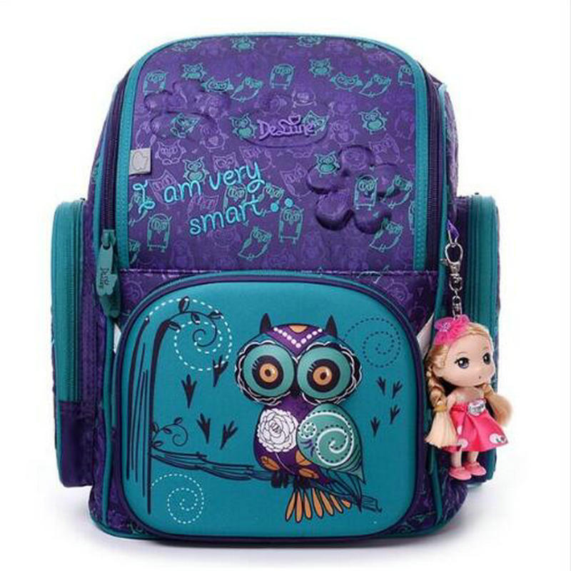 High Quality Brand Delune Shcool Bags for Girls 3D Bear Print SchoolBag Children Waterproof Orthopedic Backpack