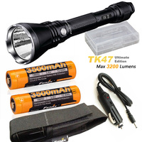 Fenix TK47 UE Ultimate Edition 3200 Lumen LED Tactical Flashlight with with 2 x ARB L18 3500 battery, car charger
