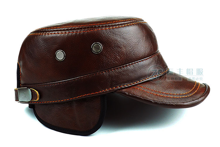 Image 2 - Men's Genuine Leather Hat Adult New Cowhide Hat Male Outdoor Warm Flat Leather Hat Winter Casual Leather Cap Adjustable B 8386-in Men's Baseball Caps from Apparel Accessories