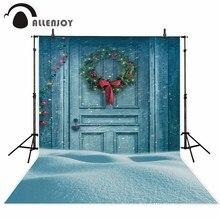 Allenjoy photography background Christmas decoration door snow winter backdrop photo background studio camera fotografica