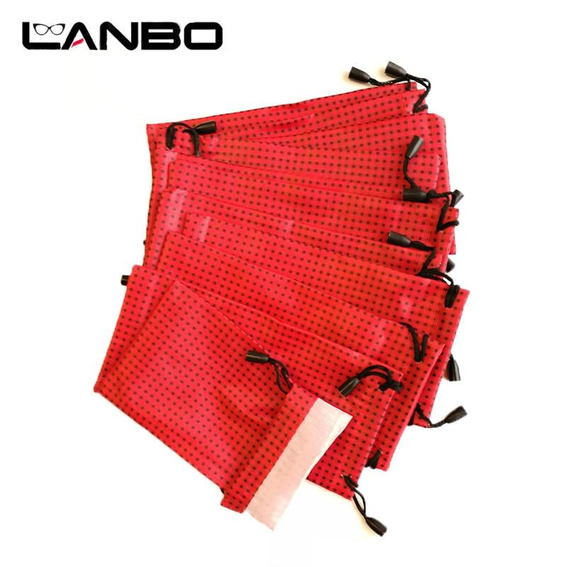 Eyewear Accessories Lanbo 100 Pcs/lot Pouch Bag Glasses Case Soft Waterproof Plaid Cloth Wholesale Sunglasses Case Glasses Bag Red Color S27 Apparel Accessories
