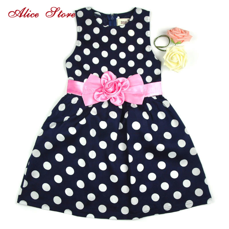 Summer Dress Alice Floral-Decor Pleated Girl's Sweet Kids Casual Dot New