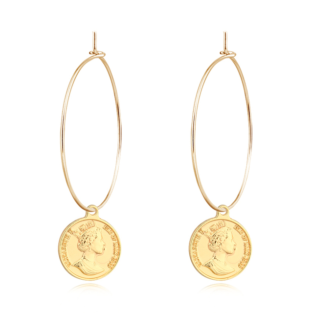 1pair European Personality Gold Coin Pendant Hoop Earrings Fashion Gold  Silver Color Dollar Big Circle Earring cc70c0dc7253