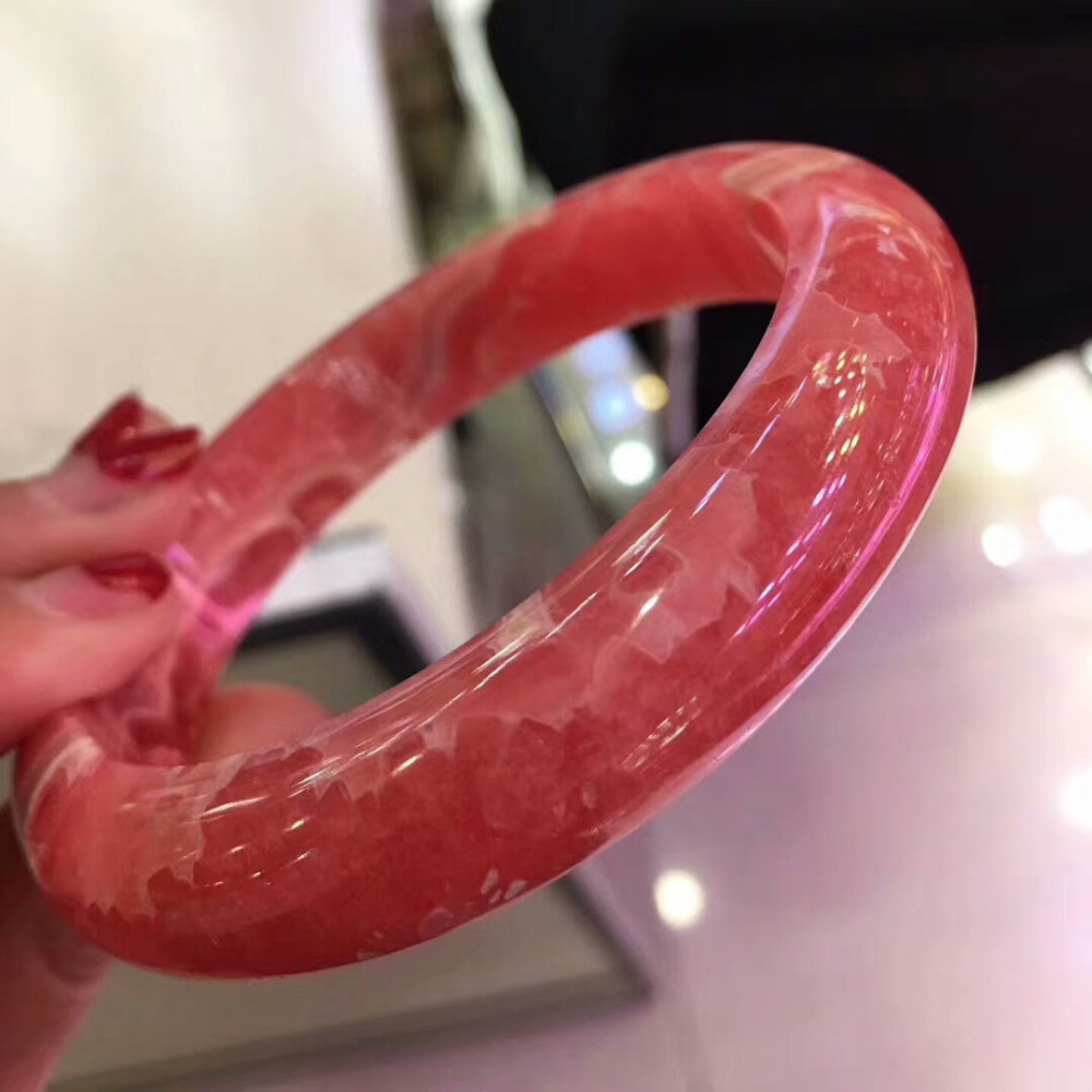 Top Quality Natural Rhodochrosite Gemstone Lady Bangles Inner Diameter 58mm Fashion CrystalTop Quality Natural Rhodochrosite Gemstone Lady Bangles Inner Diameter 58mm Fashion Crystal