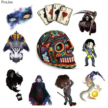 Prajna Heat Thermal Transfer Stickers Punk Skull Wizard Jackson Patches Iron On Transfers DIY Applique On Clothes