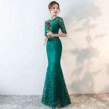 Lace Female Mandarin Collar Qipao Dress Elegant Traditional Chinese Style Fashion Long Cheongsam Slim Mermaid Dress for Party все цены
