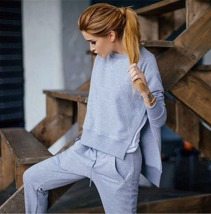 Solid Lace Up Furcation Suit Set 2019 Women Tracksuit Two-piece Sport Style Outfit Jogging Sweatshirt Fitness Lounge Sportwear