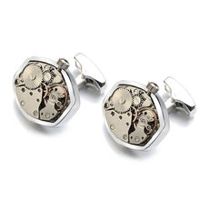 Hot Watch Movement Cufflinks Non-Functional Stainless Steel Steampunk Gear Watch Mechanism Cuff links for Mens Relojes gemelos cheap Tie Clips Cufflinks Fashion Round Trendy Simulated-pearl LEPC0046 Metal Copper LEPTON 17 5MM Non-Functional Watch Movement Cufflinks