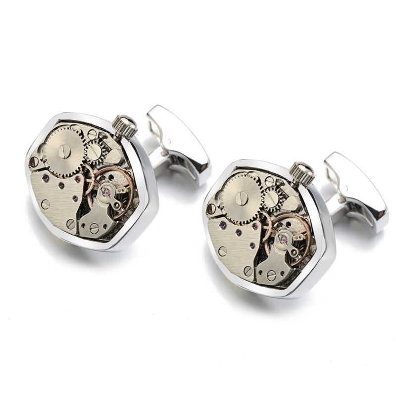 Hot Watch Movement Cufflinks Non-Functional Stainless Steel Steampunk Gear Watch Mechanism Cuff links for Mens Relojes gemelos