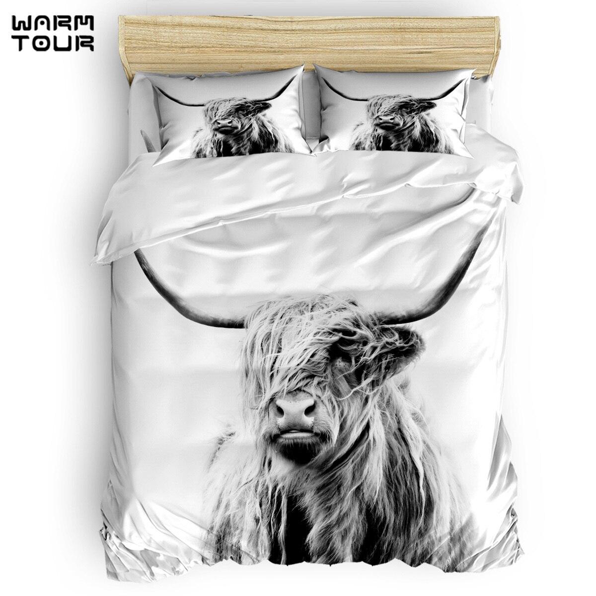 WARMTOUR Duvet Cover Portrait of A Highland Cow Duvet Cover Set 4 Piece Bedding Set For Beds