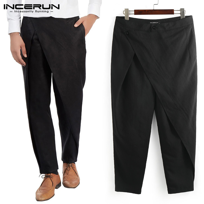 INCERUN Fashion Irregular Men Suit Pants Solid Joggers Streetwear Loose Pants Button Muslim Clothing Casual Trousers Men 2020