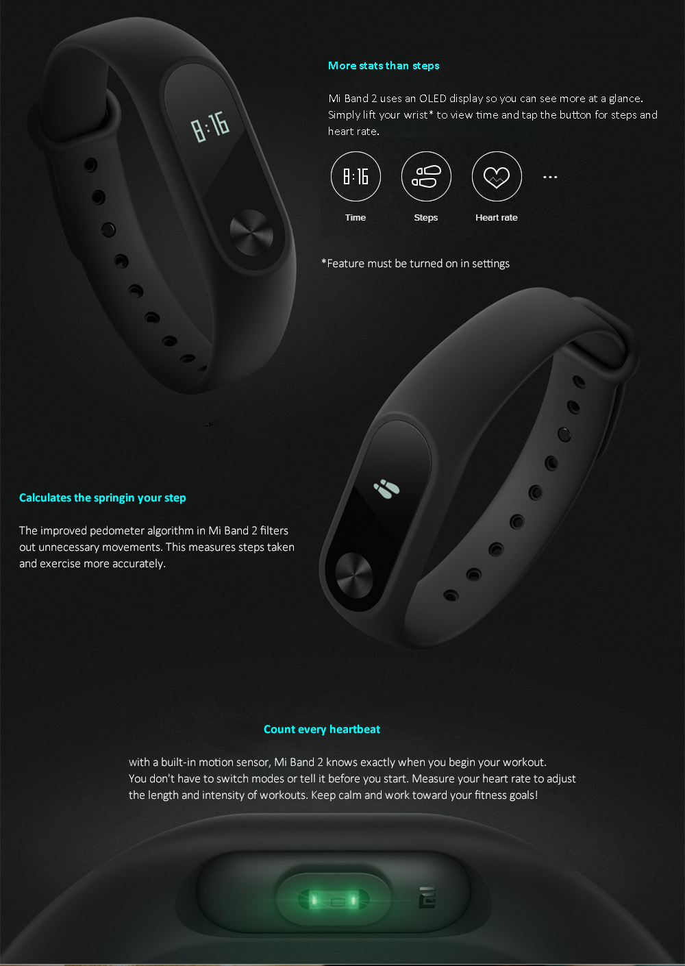Xiaomi Mi Band 2 Miband 2 Smart Bracelet Wristband Band Fitness Tracker Bracelet Smartband Heart rate Monitor 100% Original (3)
