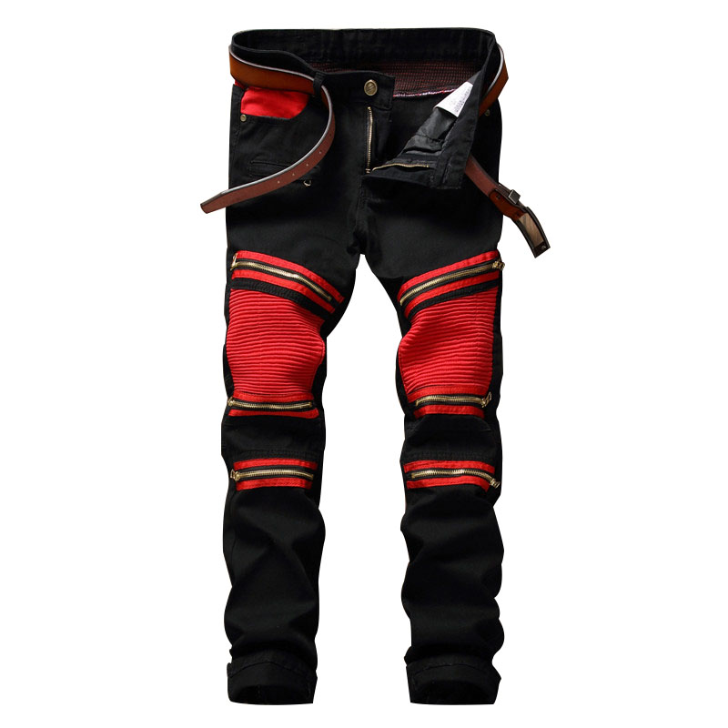 2017 Mens Biker Jeans Pants Patch Slim Fit Pleated Knee Zippers Motorcycle Denim Zipper Male Brand Hip Hop Black Trousers 2017 fashion patch jeans men slim straight denim jeans ripped trousers new famous brand biker jeans logo mens zipper jeans 604