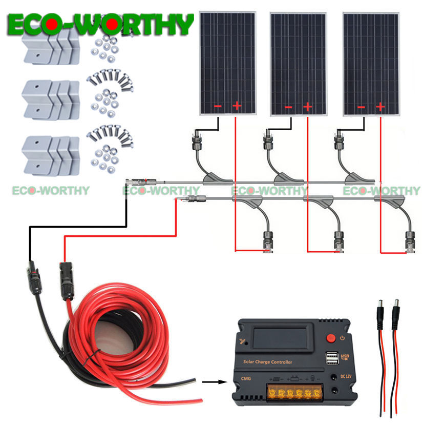 300W 12V off Grid Solar Power System w Temperature Controller for Yacht Home RV Panel Solar