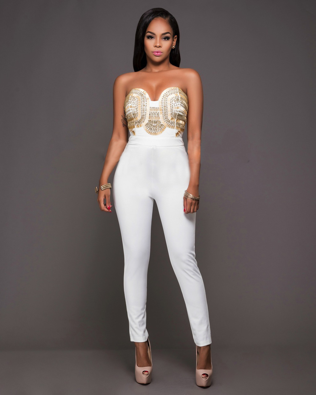 09208950e0f2 Feiterawn 2017 Black Women Bodycon Jumpsuits Sexy Strapless Backless Skinny Rompers  Club Wear Jumpsuits Back Zipper OS6005