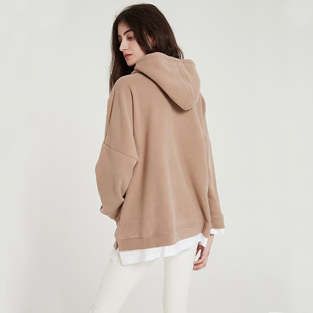 Wixra Women Casual Sweatshirts Warm Velvet Long Sleeve Oversize Hoodies Tops 2019 Autumn Winter Pullover Tops 3