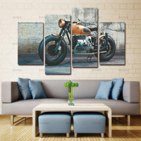 Unframed 4 Panel Large Modern Printed New England Patriots Motorcycle Oil Painting Picture Decoracion Canvas Wall