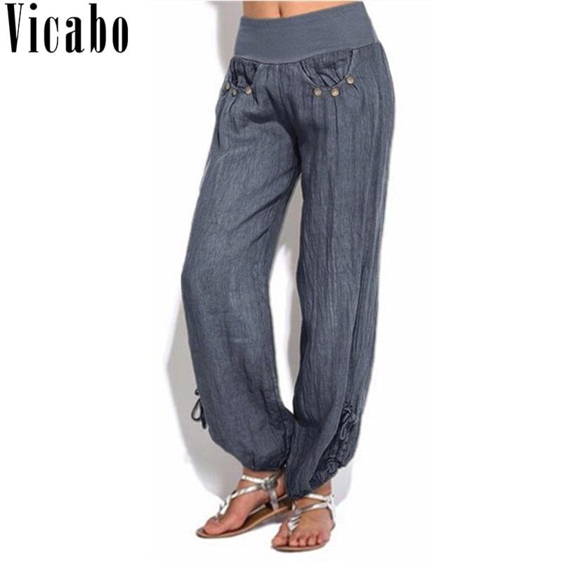 Vicabo Plus Size Women Casual Loose Harem   Pants   Solid Button   Wide     Leg     Pants   Elastic Waist Dance Palazzo   Pants   Trousers Women