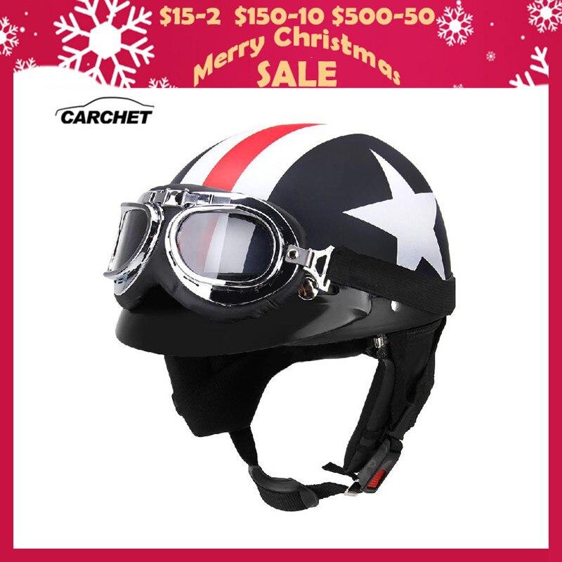 CARCHET Unisex Caschi Da Moto con Gli Occhiali di Protezione Mezza Aperto Viso Striscia di Stelle Casco Retro Vintage 54-60 cm Universale Freddo uomo Casco