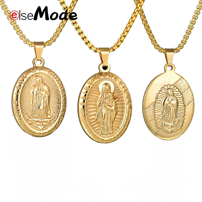 ELSEMODE Holy Virgin Mary Prayer Pendant Necklaces Gold 316L Stainless Steel  Amulet Necklace Women Men Charm Jewelry