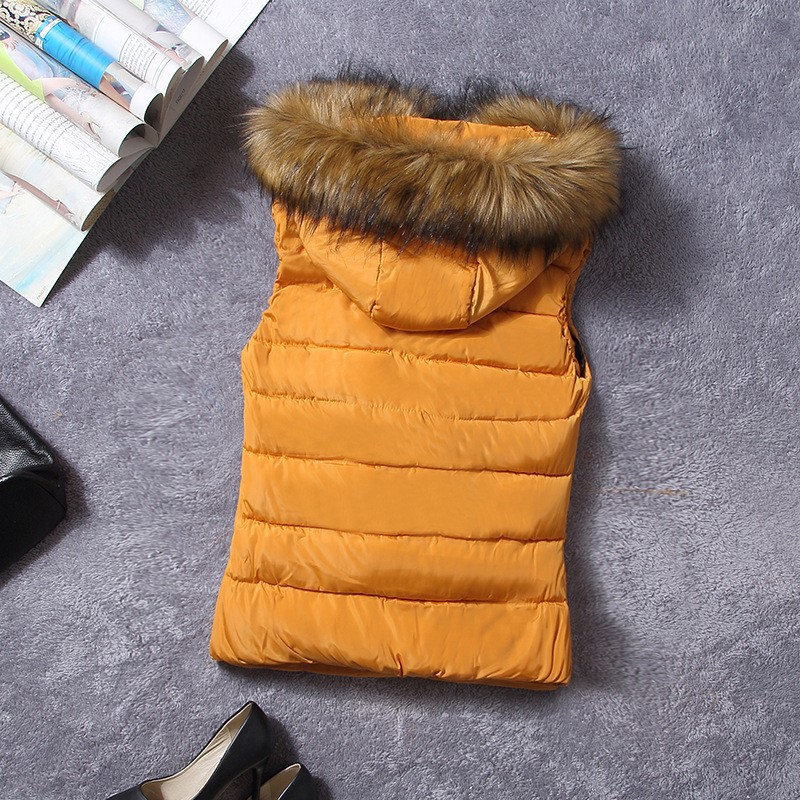 down vest with fur 0W0125 orange-1