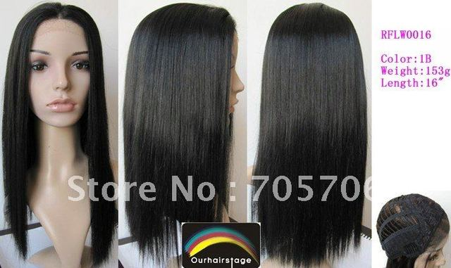 """Free Shipping Stock Synthetic Lace Front Wigs 16"""" Silky Straight #1B Kanekalon Lace Wigs"""