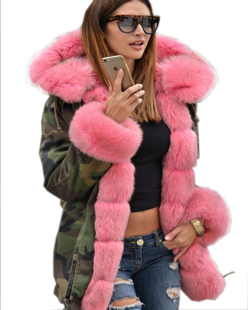 Roiii Thickened Faux Fur Camouflage Hot Pink Parka Women Hooded Long Winter Jacket Overc ...