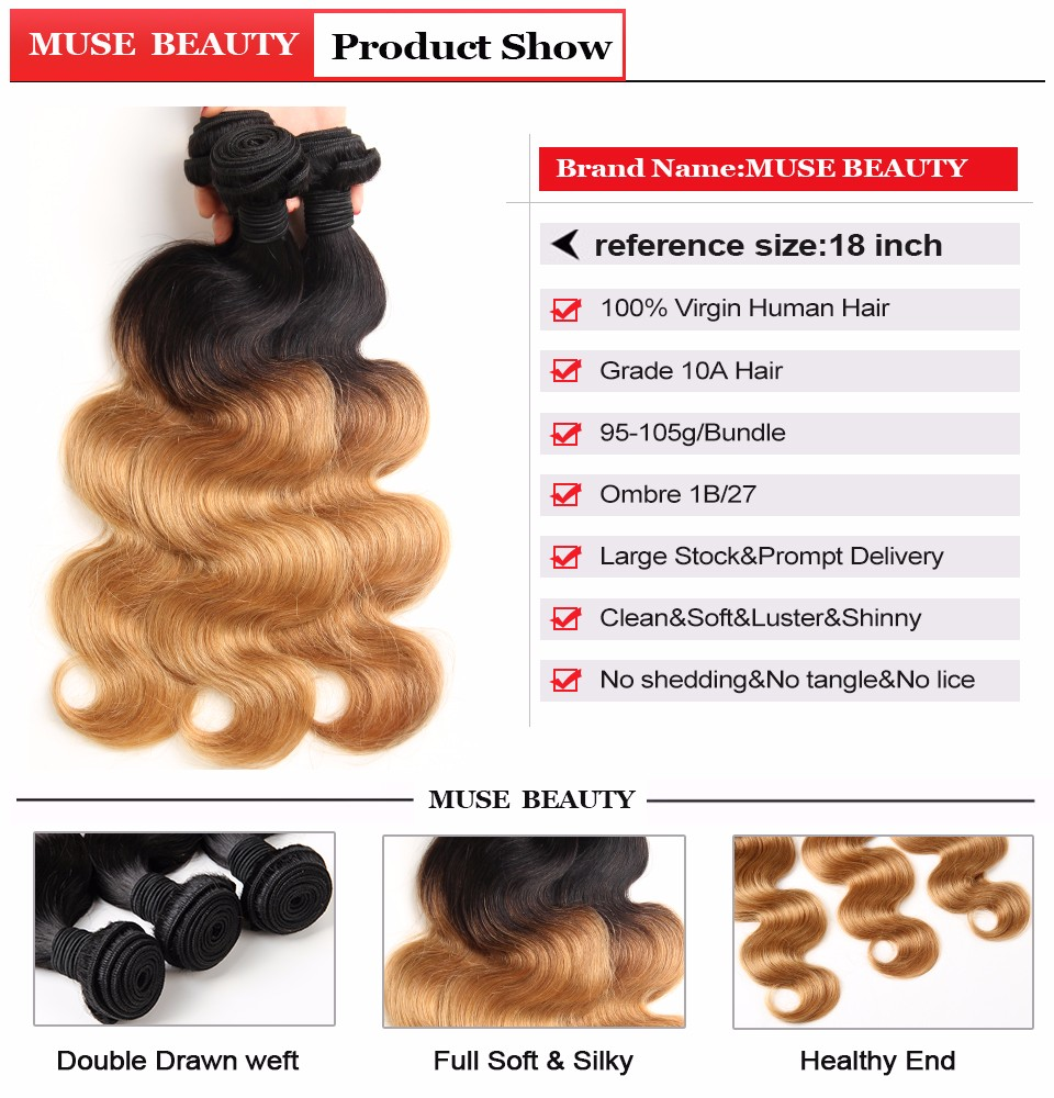 ombre brazilian hair 4 bundles body wave