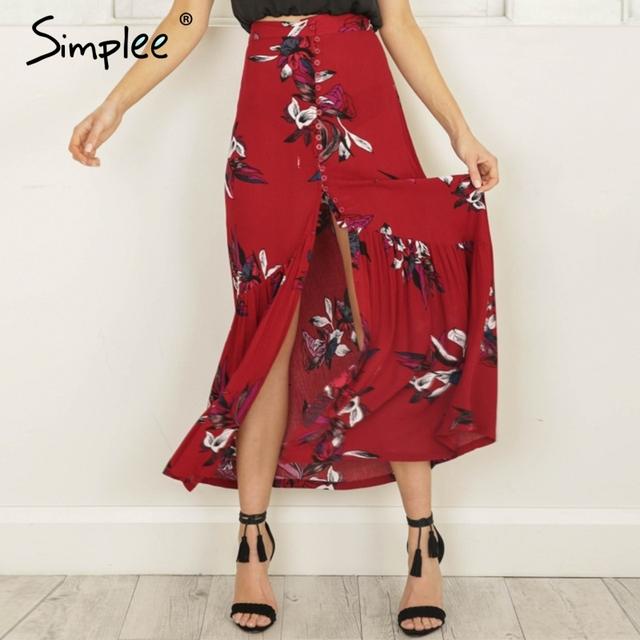 Simplee High waist boho print long skirt Women split maxi skirt floral print beach skirt Female chic vintage 2017 summer skirt