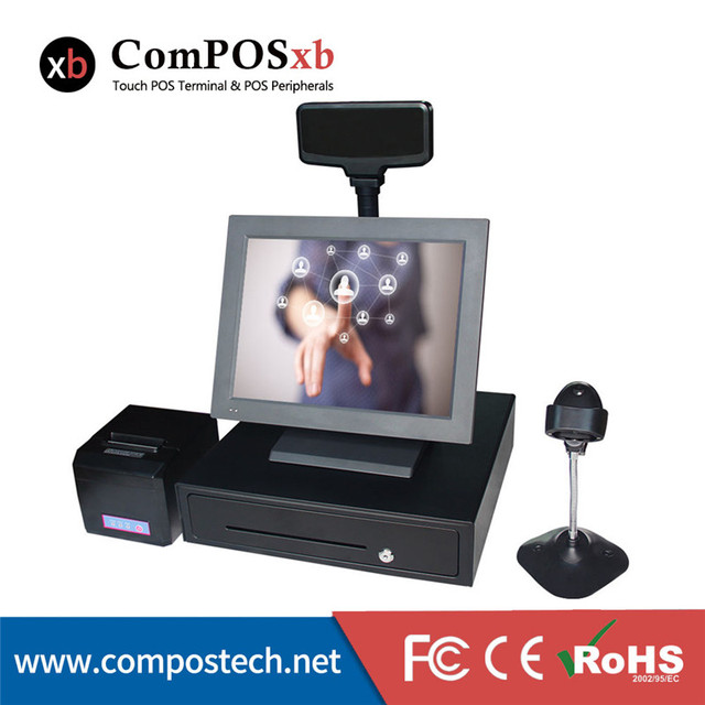 Free Shipping Supermarket Equiptment 15 inch All in One Touch POS System, Flat panel Touch POS Terminal, cash register Price