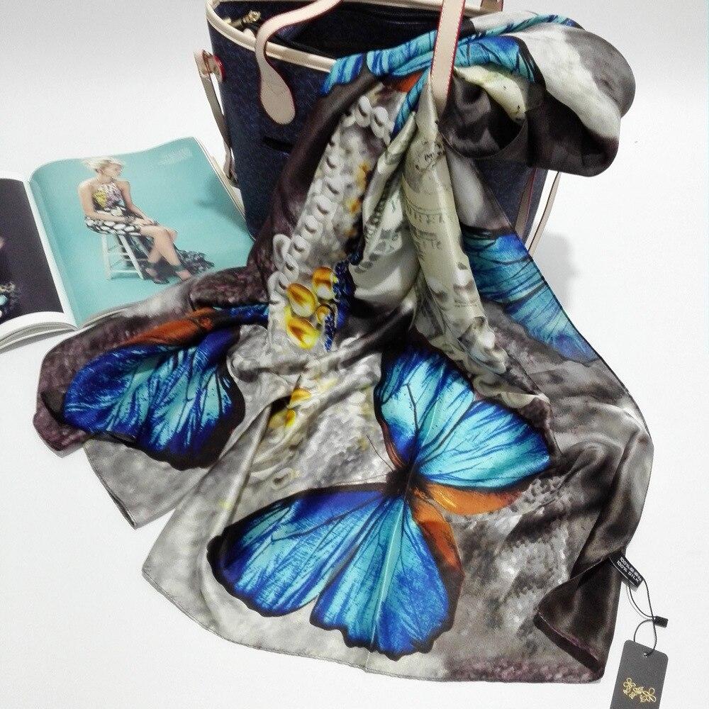Silk   Scarf     Wrap   Butterfly   Scarves   Foulard Shawl Hijab Luxury Brand Bufandas Cape Head   Scarves   Oversize Beach Towel Blue SF02