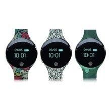 Camuflagem Bluetooth 4.0 Relógio Inteligente Pulseira Pulseira de Fitness Rastreador SMS QQ Esportes Pedômetro Smartwatch Para Android iOS Telefone