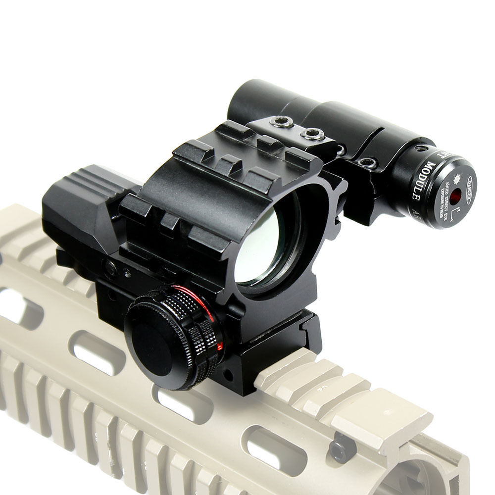 Holographic Reflex Scope With Hunting Compact Red Laser Sight / Tactical Red / Green 4 Reticles Dot Scope & Laser Sight Combo new tactical reflex green red dot sight scope