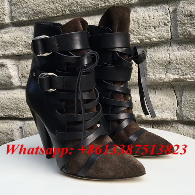 Fashion Short Booties Suede Soft Leather Patchwork Belt Buckle Side Zip Spike High Heels Ankle Boots Royston Boots Women Shoes tactical cqc leg holster for beretta px4 pistol holster sets military gun holster
