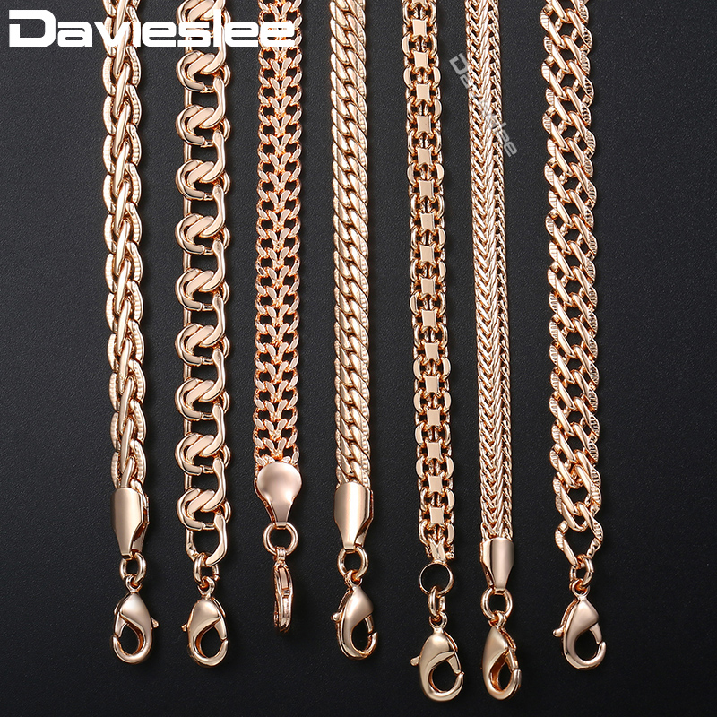 Davieslee Mens Womens Necklace Chain 585 Rose Gold Filled Necklaces for Women Men Fashion Wholesale Jewelry 3-8mm LCNN1