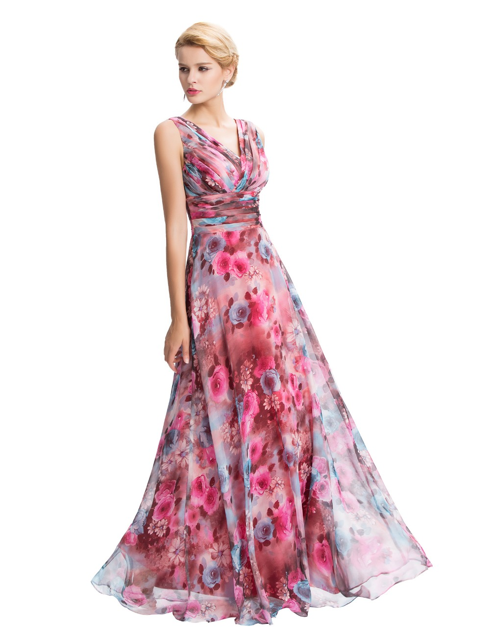 Moderno Baile Vestidos Largos Florales Bosquejo - Colección de ...